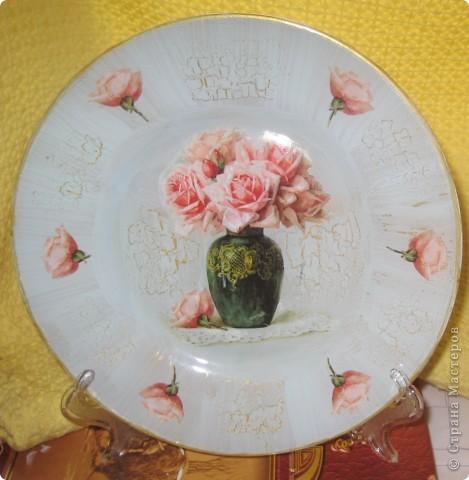 Тарелка, обратный декупаж фото 2