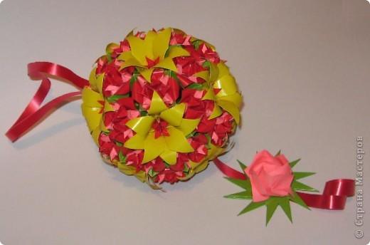 Всем привет! Пришла весна и мы начинаем задумываться, что подарить своим мамам, подругам, сотрудницам на 8 Марта. Я с подарком уже определилась. Возможно, кому-то эта кусудама придется по душе и вы захотите сделать такую.  Итак, ОБЕЩАННЫЕ ССЫЛКИ: Желтые крупные цветы + красные серединки:  http://stranamasterov.ru/node/59890?c=favorite  Для одного такого цветка я делала 2 желтых, вставляла один в один, и в серединку помещала красный модуль.  Красно-розовые цветы:  http://stranamasterov.ru/node/53305?c=favorite http://stranamasterov.ru/node/46600?c=favorite  Для одного такого цветка я делала красный колокольчик по первой ссылке и вставляла в него составной цветочек Fiore из второй ссылки.  Роза Кавасаки: http://www.youtube.com/watch?v=pLubZ94jy1E&feature=fvwrel  фото 10