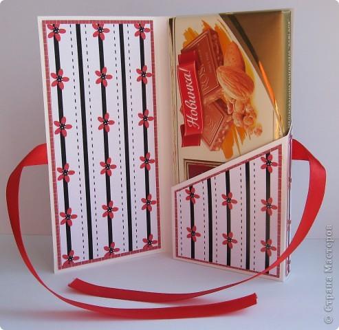 Погналась за двумя зайцами. Догнала и одного, и второго )))) Хотелось сделать и открытку, и упаковку для шоколада. Вот мой вариант. фото 2