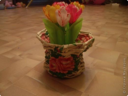 Карзинка с тюльпанами. фото 1