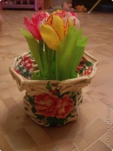 Карзинка с тюльпанами. фото 2