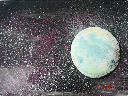 """Вот так мы с помощью нашего сайта раскрыли тему """"Космос""""... Это панно (формат А2) я рисовала в качестве образца для детей, используя мастер класс мастерицы Наталия-54. Огромное ей спасибо за идею! А вот, что получилось у детей...  фото 2"""