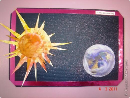 """Вот так мы с помощью нашего сайта раскрыли тему """"Космос""""... Это панно (формат А2) я рисовала в качестве образца для детей, используя мастер класс мастерицы Наталия-54. Огромное ей спасибо за идею! А вот, что получилось у детей...  фото 12"""