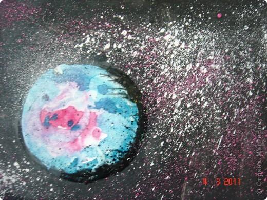 """Вот так мы с помощью нашего сайта раскрыли тему """"Космос""""... Это панно (формат А2) я рисовала в качестве образца для детей, используя мастер класс мастерицы Наталия-54. Огромное ей спасибо за идею! А вот, что получилось у детей...  фото 3"""