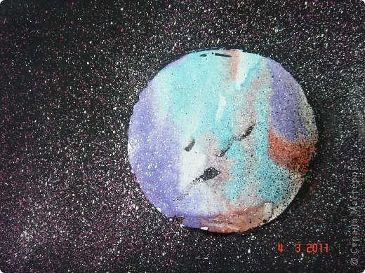 """Вот так мы с помощью нашего сайта раскрыли тему """"Космос""""... Это панно (формат А2) я рисовала в качестве образца для детей, используя мастер класс мастерицы Наталия-54. Огромное ей спасибо за идею! А вот, что получилось у детей...  фото 4"""