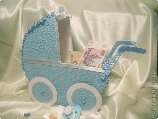 вот такие колясочки сделала для свадебного конкурса сбора денег на мальчика на девочку. фото 3