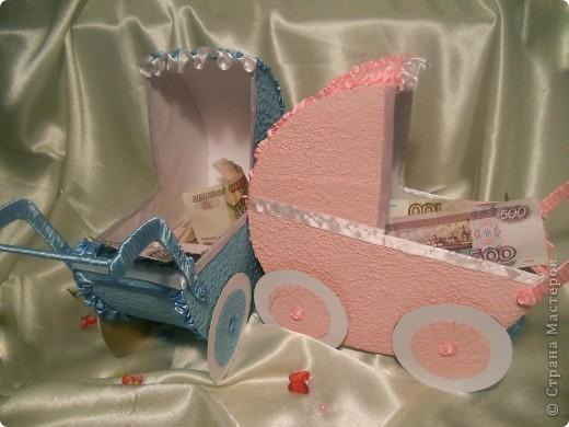 вот такие колясочки сделала для свадебного конкурса сбора денег на мальчика на девочку. фото 1
