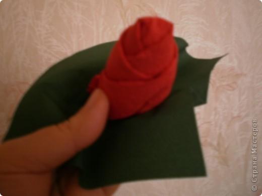 Нужны: 2 салфетки белого цвета 13см./13см., 2 красного цвета/можно 3/ 17 см./17 см., 1 зеленого цвета 13/13, клей фото 10