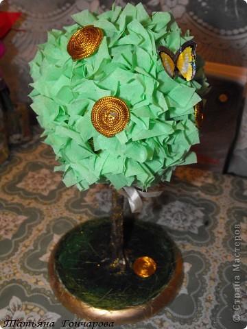 """Мои деревца. Первое сторцевалось это,классическое розовое!  Шарик из туалетной бумаги, смоченной водой, клея ПВА, в общем из того что было под руками! потом сверху гофробумагой зеленой, и уже сверху розочки и зелень.  Стволик из бамбуковых шампуриков,"""" покрашенных """" гипсом, оказывается ,гипс при покраске сламывается прямо под кисточкой,и такая красивая деревянная структура мне не удалась, но учитывая что это первые деревца, мне понравилось, и опыт хороший)). Подставочка-тоже гипс в пластиковой обычной тарелочке, поле застывания перевернула, и низ зашкурила. завтра буду клеить на низ тканюшку , чтоб вид был поэстетичней))).  покрасила краской, бочкА у подставки задуты золотым спреем из баллончика, по краю декор зеленым сизалем. остальные по тому же принципу, разница в декоре. фото 2"""