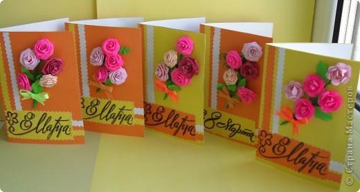 Сделала к празднику и подарила своим коллегам (учителям и воспитателям) небольшие открытки. С весенними цветами. фото 2