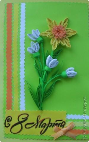 Сделала к празднику и подарила своим коллегам (учителям и воспитателям) небольшие открытки. С весенними цветами. фото 1