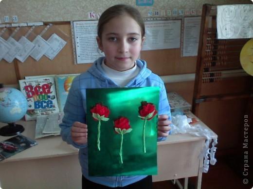Большое спасибо Татьяне Просняковой за идею. Сам процесс изготовления детям очень понравился. Решили поэкспериментировать с фоном и цветом роз фото 9