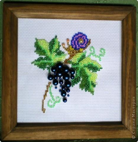 Не совсем весенняя тематика, но уж очень сочно выглядит эта виноградная гроздь! И мы с дочкой решили подарить эту вышивку нашей бабушке ко дню 8 марта. фото 1