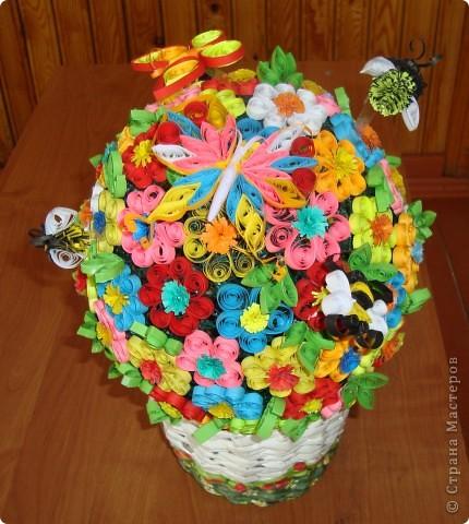 Цветочная поляна Корзина: плетение + декупаж фото 2
