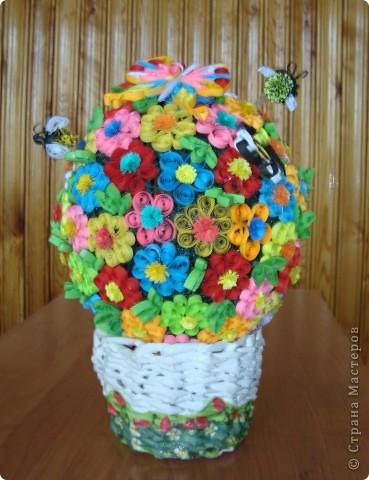 Цветочная поляна Корзина: плетение + декупаж фото 1