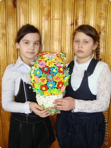 Цветочная поляна Корзина: плетение + декупаж фото 7