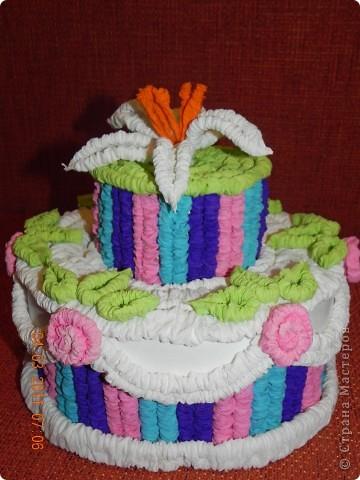 Вот такой тортик получился у меня. Татьяна Николаевна Проснякова, спасибо Вам огромное!!!! На 8-е марта отнесли в детский сад в подарок воспитателям. фото 1