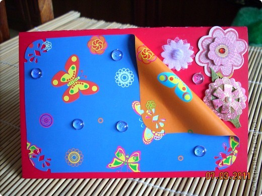 цветной картон,декоративная фольга,цветочки,бусинки. фото 3