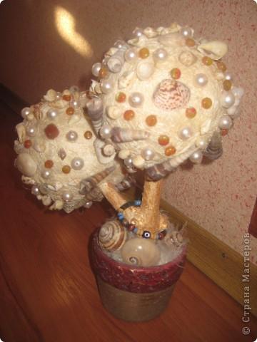 Пенопластовые шары, ракушки, кокосовое волокно, бусины, ствол натуральный покрашен золотой краской, клеила все на пистолет. фото 3