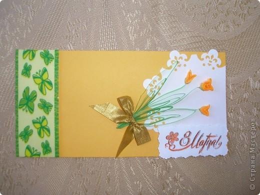 На эти открытки меня вдохновила вот эта работа http://stranamasterov.ru/node/52400?c=favorite . Спасибо автору за схемку. Восьмёрка с пушистиками. Основа - бумага для акварели, треугольники и квадрат за восьмёркой - обои виниловые, оранжевая окантовка - офисная бумага + фигурный дырокол для края, восьмёрка - бархатная бумага.  Жёлтые пушистики - то ли гигантские мимозы, то ли не очень крупные одуванчики. фото 6