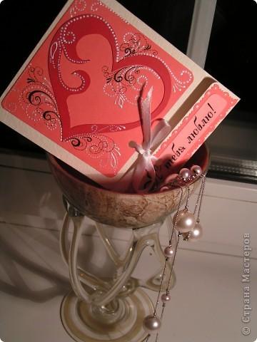 """Часто делаю открыточки с завязками. Как правило, это валентинки, свадебные. Завязки, на мой взгляд, добавляют таинственности, поздравление становится сугубо личным. На этом фото валентинка """"Я тебя люблю"""". фото 1"""