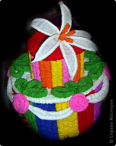 мой тортик из гофротрубочек