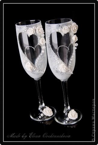 Свадебные фужеры с бело-серебристым декором. Спасибо за вдохновение Олесе Ф.! фото 1