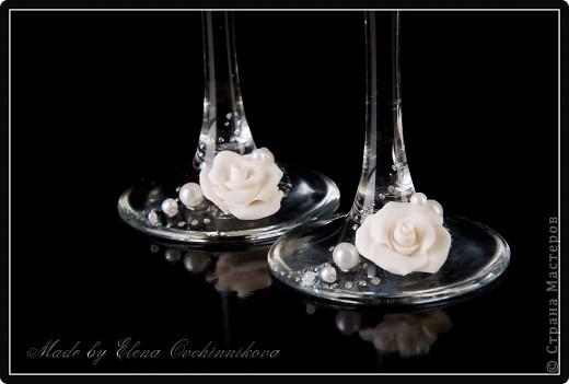 Свадебные фужеры с бело-серебристым декором. Спасибо за вдохновение Олесе Ф.! фото 2