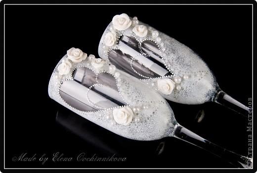 Свадебные фужеры с бело-серебристым декором. Спасибо за вдохновение Олесе Ф.! фото 3