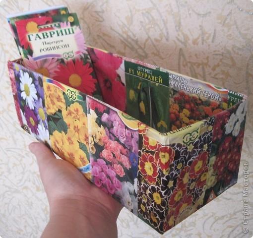 Сегодня закончила обклеивать коробочку для семян. Очень удобно складывать пакетики с семенами. Думаю огородницам понравится! На 8-ое марта подобную коробочку подарила своей лучшей подруге Ирине. фото 1