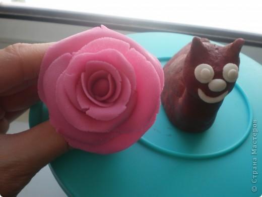 Я восхищаюсь работами местных мастериц, которые лепят цветы из фарфора. сама я никогда с фарфором не работала, как-то побаиваюсь пока, почему- сама не знаю. А вот набралась наглости и смастерила розу из солёного теста. Благодарю за МК kukushechka фото 3