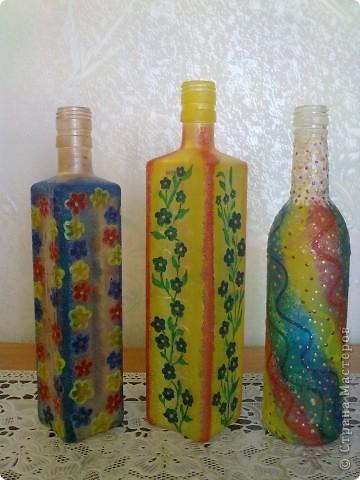 обычные бутылочки расписаны акриловой краской фото 1