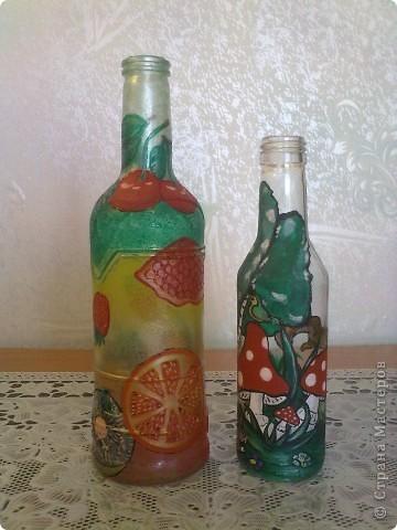 обычные бутылочки расписаны акриловой краской фото 3