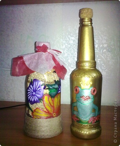обычные бутылочки расписаны акриловой краской фото 9