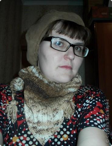Шапочка и шарфик спицами и крючком фото 5