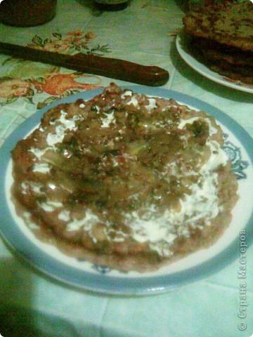 Торт из  сердца с грибами.  Для блинов: Куриное сердце - 0,5кг Яйца -2-3 шт Молоко - 0,5 стакана Мука 0,5 стакана Сода пищевая на кончике ножа Соль, перец фото 5