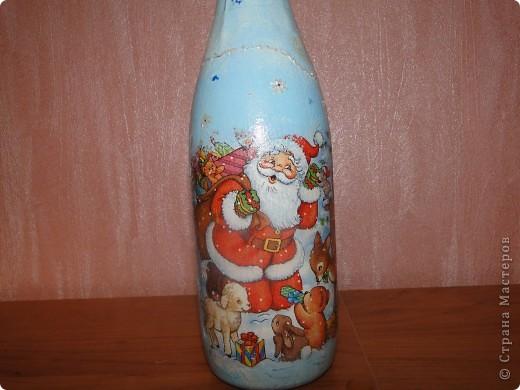 Одна из первых моих бутылочек. Сделала папе не Новый год. Он у меня Рыбак (с большой буквы). фото 2