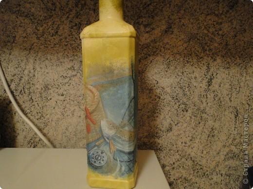 Одна из первых моих бутылочек. Сделала папе не Новый год. Он у меня Рыбак (с большой буквы). фото 1