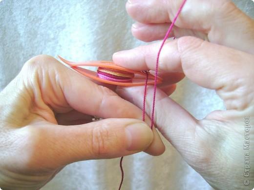 Прямой узел: Возьмите челнок с намотанной нитью в правую руку. Захватите нить между большим и указательным пальцами левой руки, оставив свободным конец (примерно 15-20 см). фото 5