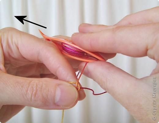 Прямой узел: Возьмите челнок с намотанной нитью в правую руку. Захватите нить между большим и указательным пальцами левой руки, оставив свободным конец (примерно 15-20 см). фото 11
