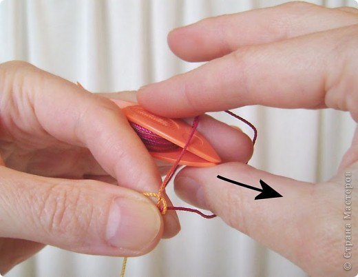 Прямой узел: Возьмите челнок с намотанной нитью в правую руку. Захватите нить между большим и указательным пальцами левой руки, оставив свободным конец (примерно 15-20 см). фото 13