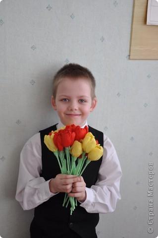 Вот такие тюльпанчики у нас получились благодаря МК Татьяны Николаевны  http://stranamasterov.ru/technics/flowers22-23.html  фото 2