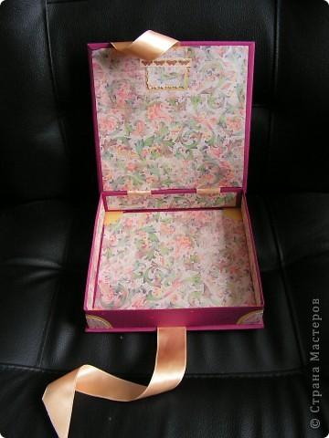 коробочка-шкатулка с открыточкой сверху фото 3