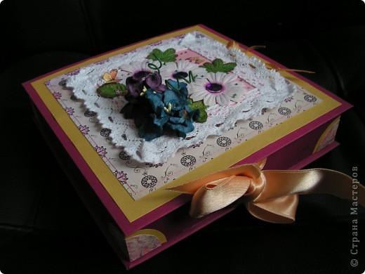 коробочка-шкатулка с открыточкой сверху фото 4
