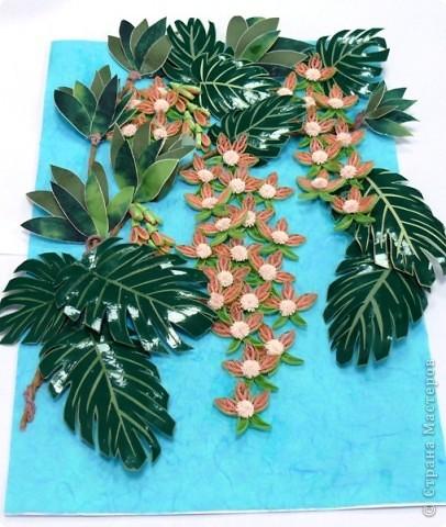 Вот и у меня теперь появились орхидеи в тропиках. Очередная работа с курсов Ольги К. Спасибо ей большое. Опять работа пока без рамки, не могу ждать, не терпится поделиться с вами. На белом фоне... фото 1