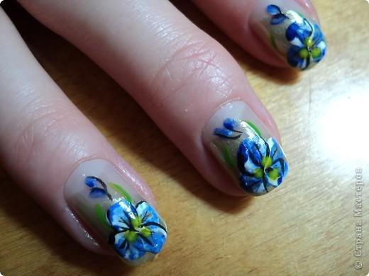 Это ои новые работы по дизайну ногтей. В работе использовала как лаки, так и акриловые краски. Рисую еще не очень хорошо, тренируюсь. фото 1