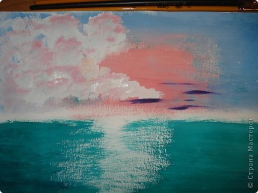 Продолжаем рисовать по урокам Боба Росса.  Для рисования нам понадобится Бумага для акварели формата А-3,гуашь художественная,кисти:большая щетина(у меня плоская №12) и маленькая(у меня пони №2) фото 7