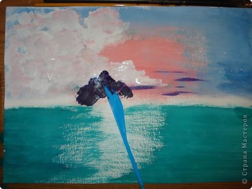 Продолжаем рисовать по урокам Боба Росса.  Для рисования нам понадобится Бумага для акварели формата А-3,гуашь художественная,кисти:большая щетина(у меня плоская №12) и маленькая(у меня пони №2) фото 9