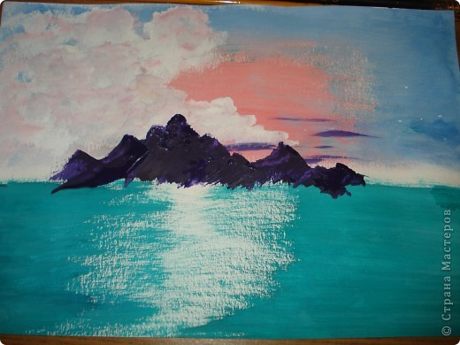 Продолжаем рисовать по урокам Боба Росса.  Для рисования нам понадобится Бумага для акварели формата А-3,гуашь художественная,кисти:большая щетина(у меня плоская №12) и маленькая(у меня пони №2) фото 10