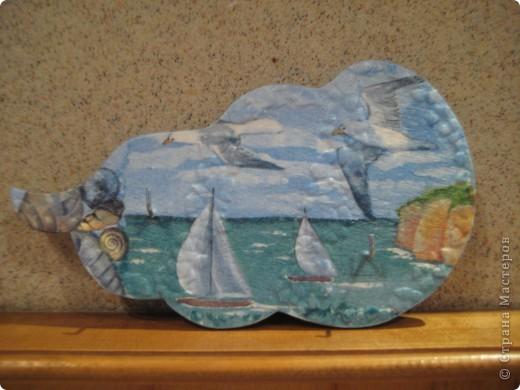 Морской мотив.Салфетка+яичная скорлупа. фото 1